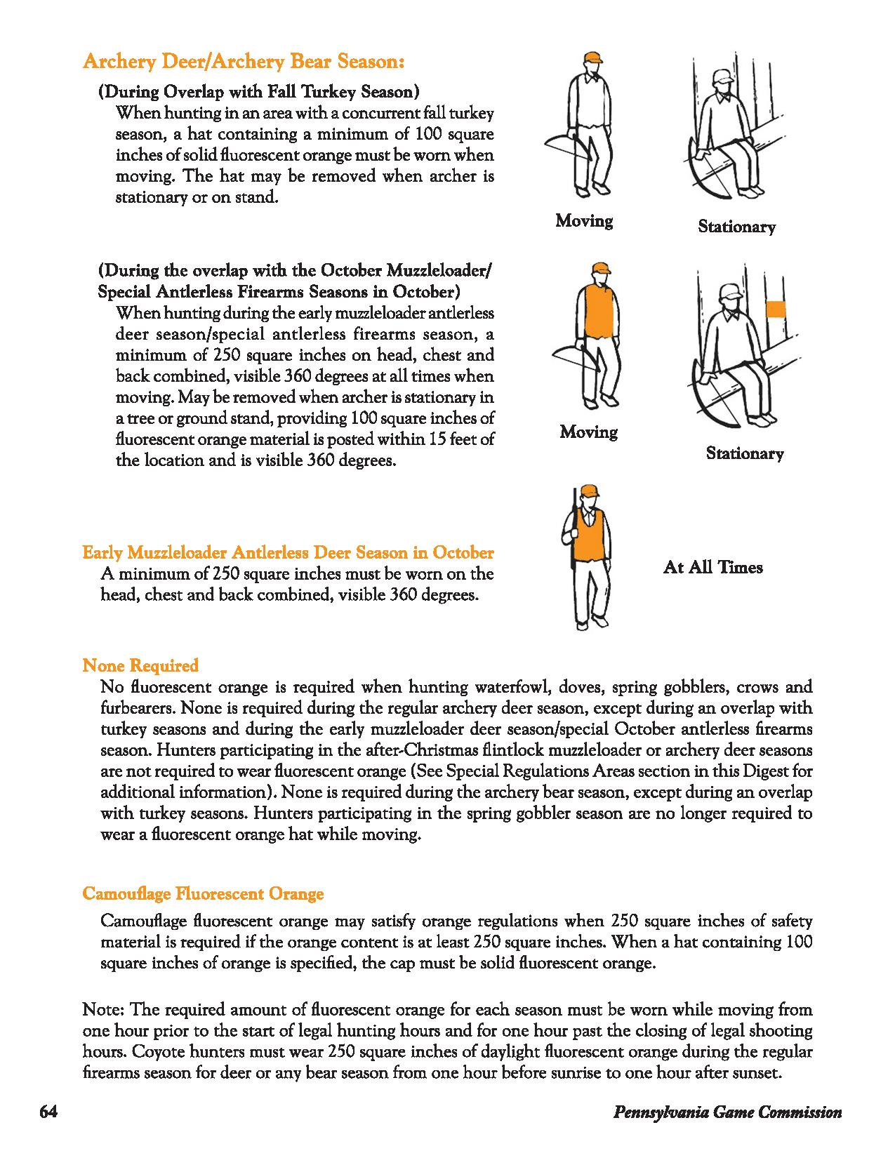 Pennsylvania Fluorescent Orange Requirement Charts
