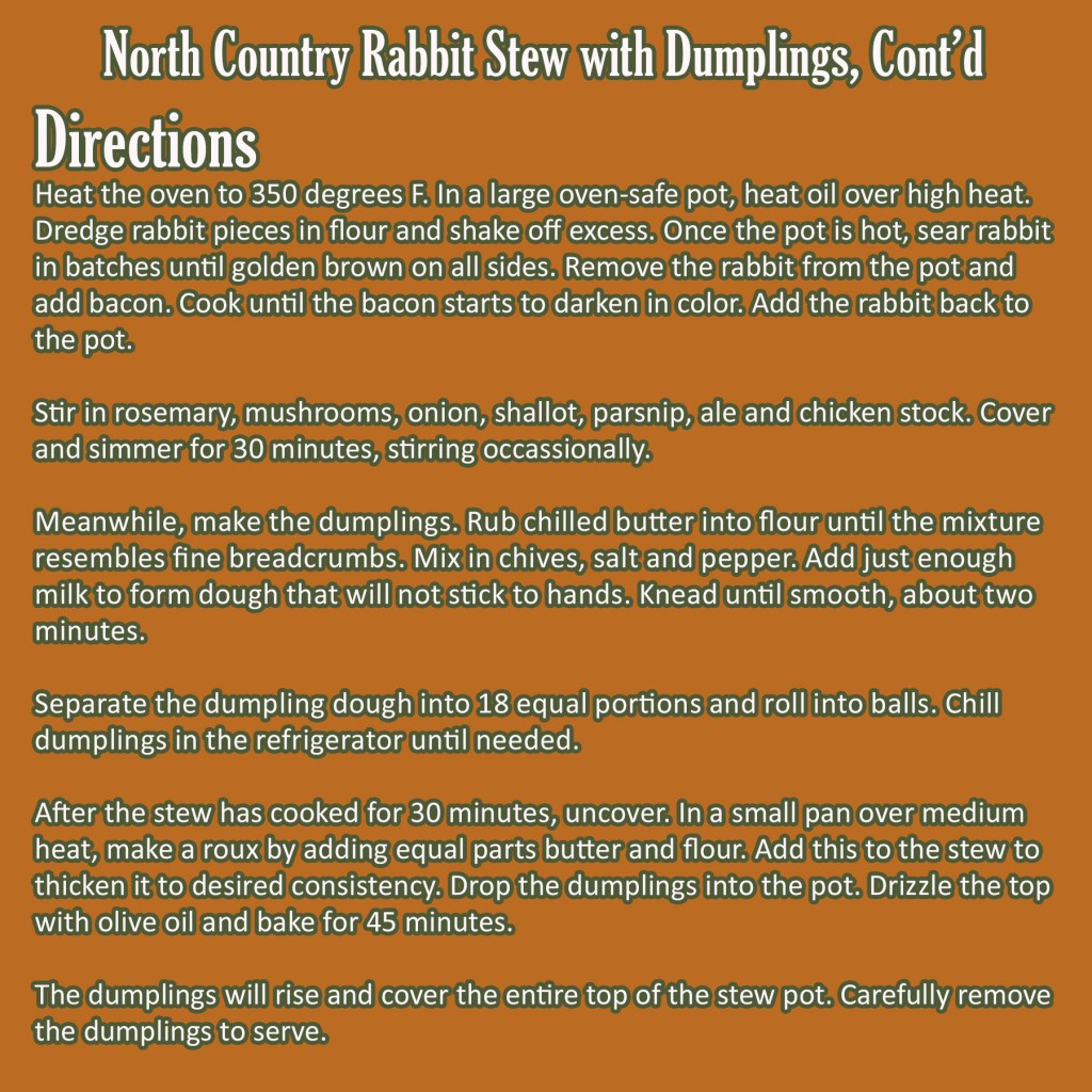 North Country Rabbit Stew with Dumplings - Part 2